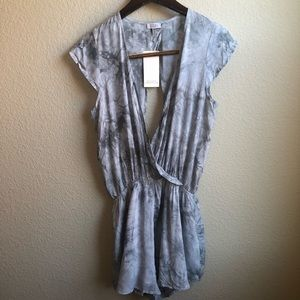 TOBI gray tie dye shorts open back romper